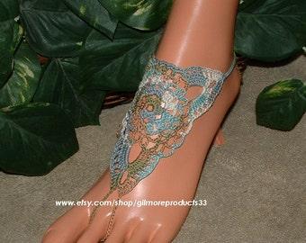 Summer Beach Barefoot Sandals, Foot Jewelry, Women Shoes, Beach Sandals, Crochet Accessories, Summer Anklet, Crochet Barefoot Sandals Shoes
