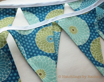 FLORAL FABRIC GARLAND -- blue aqua turquoise pennant fabric flag banner -- party fabric bunting -- pennant garland -- 9 feet