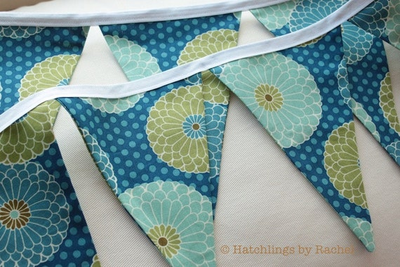 FLORAL FABRIC GARLAND -- blue aqua turquoise pennant fabric flag ...