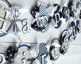 Happy Birthday Banner Navy/Blue/White/Grey/Polka Dot/Stripe/Chevron