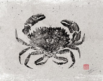 ROCK CRAB GYOTAKU - traditional Japanese fish art by dowaito