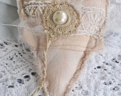 Heart Pillow with Vintage drape pull, lace and organza- 100% charity item