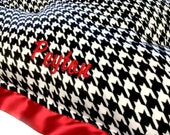 Dog Crate Mat Black and White Houndstooth Minky with Red minky and Flat Red Satin Trim Pet Bed Medium