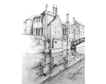 Queens' College and the bridge from across the Cam — limited edition archival print