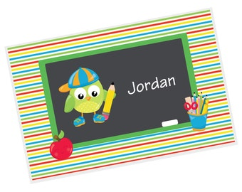 Owl Personalized Placemat - School Owl Apple Pencils Horizontal Stripes Name with Name, Customized Laminated Placemat