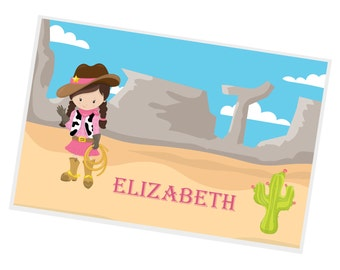 Cowgirl Personalized Placemat - Cowgirl Hand Wave Desert Name with Name, Customized Laminated Placemat