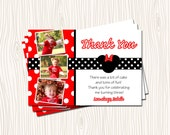 Custom Photo Pink Polka Dot Mickey & Minnie Mouse Thank you Card Note Birthday Party    - You Print