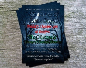 NIghtmare on Elm Street Theme Halloween Party or  Birthday Party Invitation Card - Any Color