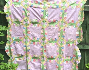 Antique Vintage 1930s Kentucky Double Wedding Ring Quilt Top