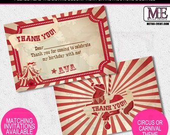 Circus Thank You Cards, Carnival Thank You Notes, Circus or Carnival Cards, Circus Thank You Notes, Carnival Thank You Notes