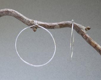 Medium Sterling Silver Hoop Earrings, Hand Hammered Sterling Silver Hoops, 18 Gauge Sterling Silver Wire