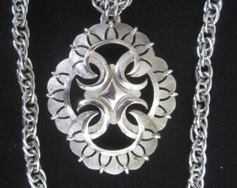 Vintage Trifari Double Strand Pendant Necklace -  Silver Tone Finish - Womens Statement Fashion Jewelry - Prom Necklace