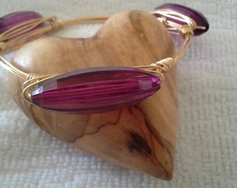 Bourbon & Bowties LIKE Purple Vintage Acrylic Bangle Bracelet, Gifts for Her, Bridesmaid Gifts, Wire Wrapped Bracelet, Gifts for Mom, Mother