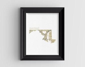 Maryland State Digital Art Print - INSTANT DOWNLOAD - Vintage Map
