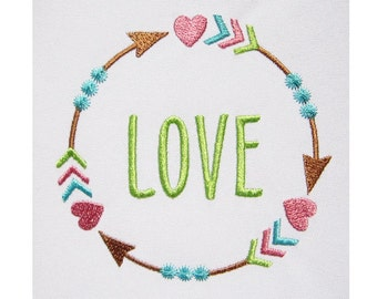 Heart Arrows Font Frame Love Embroidery Design FF016