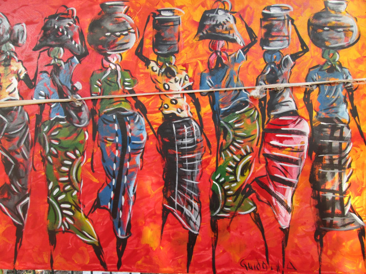 Afrikanische kunst contemporary by handicraftafrica on etsy for African mural painting