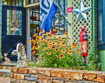 Country Store with Summer Flowers Color Photographic Print