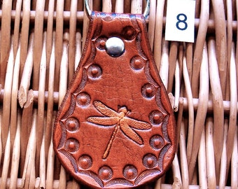 Dragonfly Leather Keyring, Handmade Leather Dragonfly Key Fob (K8)