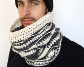 The Gray - Pima Cotton Handmade Crochet Cowl Neckwarmer in Chunky Slate Gray and Cream, Unisex, Oversized