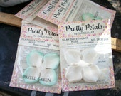 6 Packages ~ White & Pastel Green PRETTY PETALS ~ Silky ~ Roses by SiroCraft / Siro Craft ~ Vintage / Packages Flower Craft mixed Lot