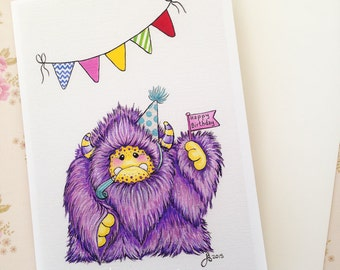 Purple yeti monster card, blank greeting card, birthday card, monster and bunting card, monster art, yeti painting, art card, 5x7 inches