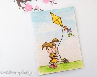 """Girl and Kite ACEO art print, cartoon style girl and kite, trading card, artist card, miniature illustration, fine art print """"Flying a Kite"""""""