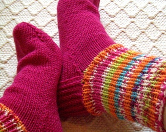 Boot wool Socks with colorful cuff Womens boys girls Warm Durable Cozy Pink blue orange Autumn Machine washable Handknitted Made in Finland