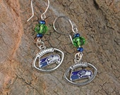Seahawks Football Earrings with Crystals