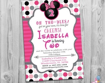 Minnie Mouse Birthday Invitations | Printable Girls Party Invitation | Minnie Mouse 2nd Birthday Invite | Second Birthday, On Sale