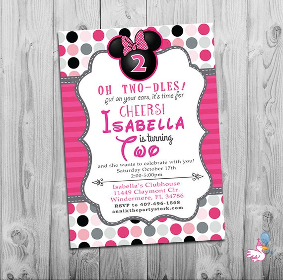 Minnie Mouse Birthday Invitations Printable Girls Party