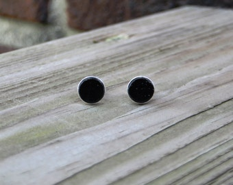 Solid 925 Sterling Silver Stud Earrings with African Blackwood Inlay Handmade