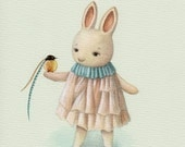 Bunny with a Bird Art Print
