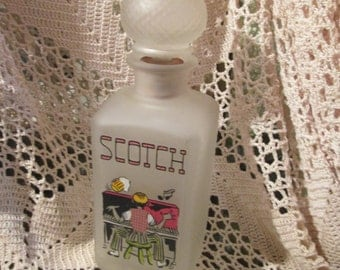 Vintage Gay Nineties Scotch Frosted Glass Liquor Decanter