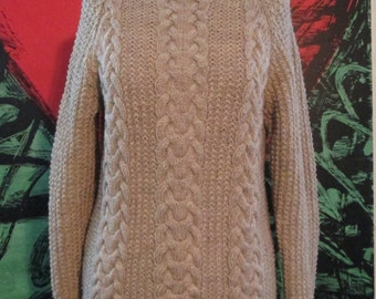 Last One! Handmade Knit Oatmeal Fisherman's Wool Cable Sweater