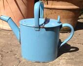 Blue enamel watering can, vintage watering can