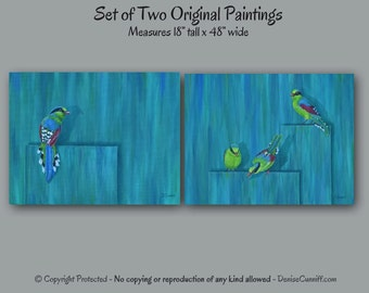 Abstract painting set of two, Wall art - Large, Teal blue home decor, Turquoise artwork, Aqua Red room decor, Bird pictures, Green magpies