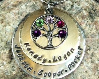 Two Metal Layered Handstamped Mom or Grandma's Necklace With Family Tree