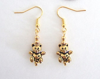 Gold Teddy Bear Earrings Cute Gifts Ideas for Her Gifts for Girls Children's Jewelry Minimal Earrings Gold Plated Little Girl Jewelry