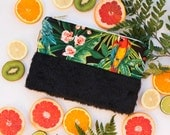 Tropical Clutch Bag, Handbag with Jungle Pattern and Birds, Black Furry Detail, Zipper Pouch lined with Natural Cotton →KIWI←
