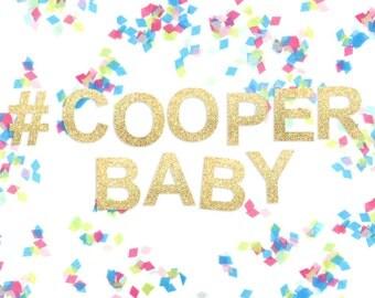 Personalised Baby Shower Glitter Garland