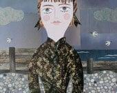 Original Art, Cut Paper Collage, Naive, Folk, Gift Idea, Beach, Portrait of a Lady, Thomas Hardy, English Literature, Art, Victorian,