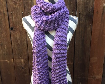 Traditional Lilac Hand Knit Scarf with Fringe / purple / violet