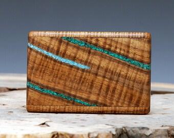Exotic Wood, Turquoise & Malachite Inlaid Belt Buckle - Handmade with Hawaiian Koa