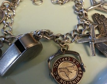 Sterling Silver Charm Bracelet, 10 Travel Charms, Vintage