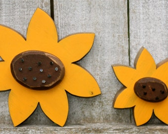 Wood Sunflowers | Rustic Summer Fall Decor | Wooden Snowflowers Home Decor | Farmhouse Decor | Rustic Decor Primitive | Summer Fall Flowers