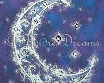 Crescent Moon Decor, Celestial Decor, Crescent Moon Art Print, Crescent Moon Wall Art, Holiday Decor, Moon Illustration, Moon and Stars