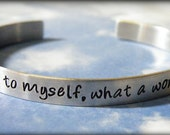 And I Think To Myself What A Wonderful World Hand Stamped Aluminum Cuff Bracelet
