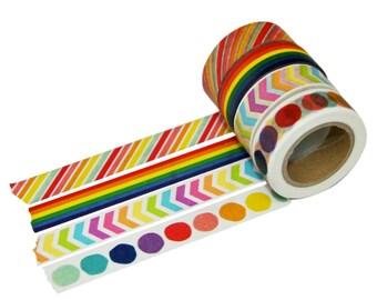 Rainbow Set of beve Washi - Set of Four - Tutti Frutti Stripe, Rainbow Stripe, Rainbow Chevron, Rainbow Dot