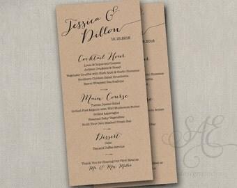 "Wedding menu card, custom wedding menu, printable non-editable PDF file, wedding reception menus, 4 x 9"" menu, elegant script"
