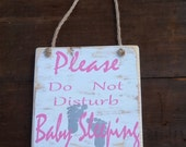 Baby Sleeping Doorknob Sign Please Do Not Disturb Baby Sleeping Sign Pink for Girl Baby Footprints Sign